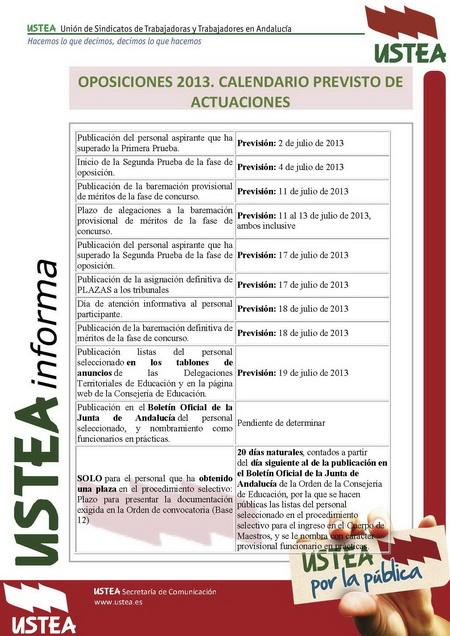 Calendario Oposiciones 2019 Andalucia.Oposiciones