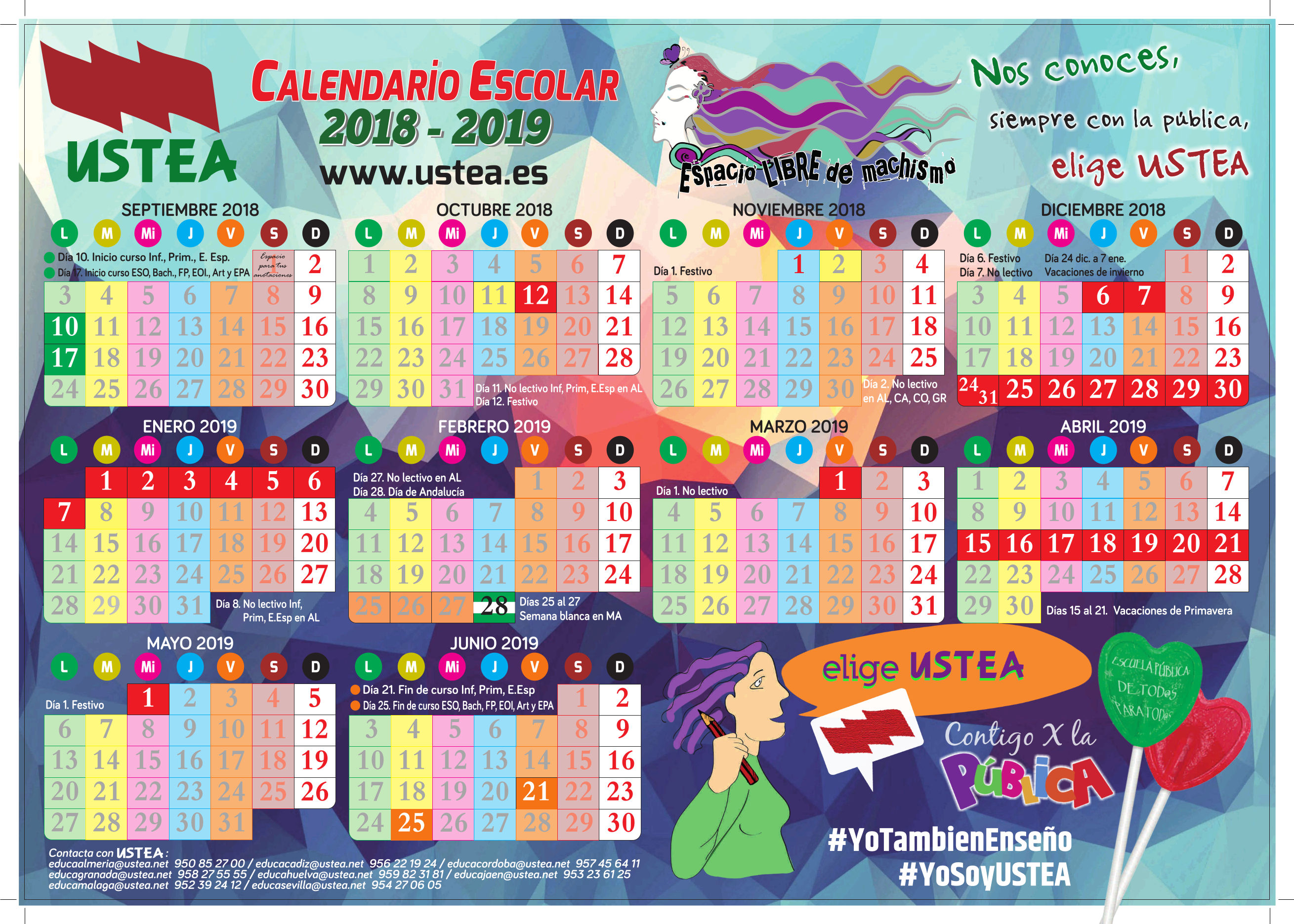 Calendario Escolar Huelva.Calendario Escolar Curso 2018 2019
