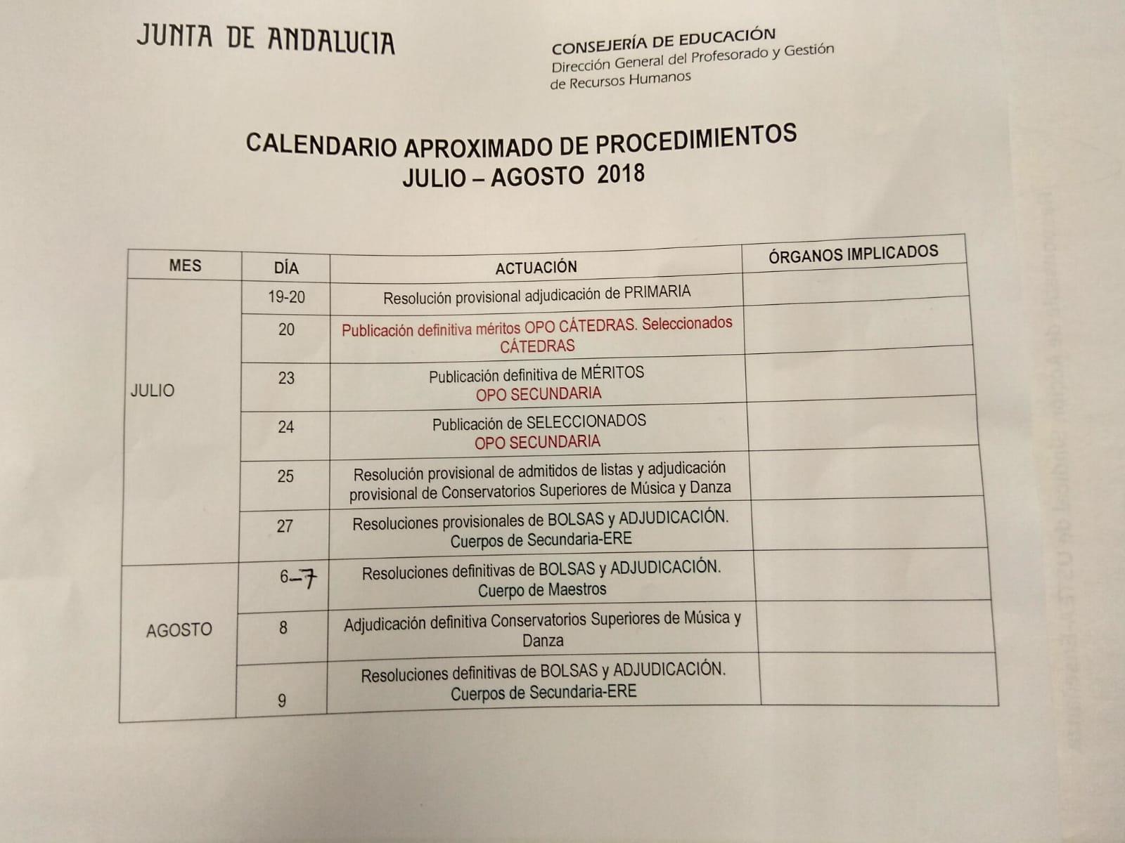 Calendario Oposiciones 2019 Andalucia.Colocacion De Efectivos Nuevo Calendario Del Procedimiento