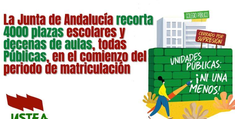 La Junta recorta 4.000 plazas públicas y decenas de clases en los colegios andaluces en el proceso de escolarización