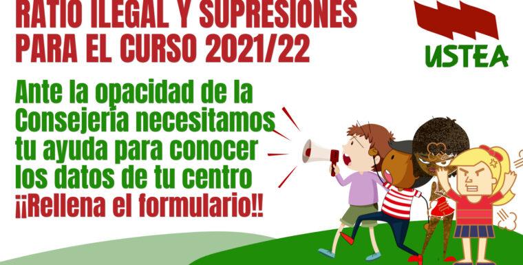 ¡Ayúdanos a denunciar! Supresiones y ratio ilegal en nuestros centros educativos